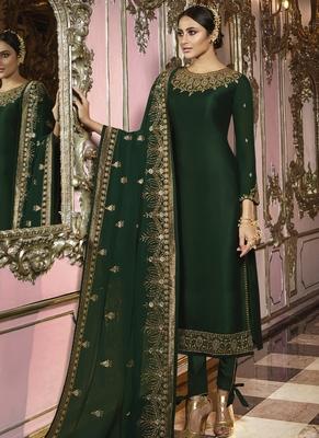 Dark Green Georgette Party Wear Salwar Kameez