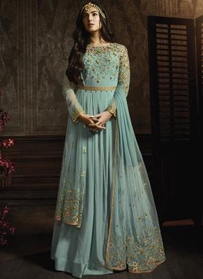 Sky Blue Georgette Anarkali Salwar Kameez