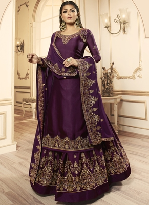 Dark Purple Georgette Pakistani Salwar Kameez