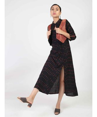 Black Long A-Line Cotton Kurti
