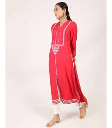 Red Long Cotton Kurti With Embroidery
