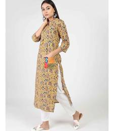 Multicolor Cotton Kurti With Chinese Neck