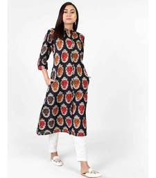 Black Cotton Kurti With Kalamkari Print