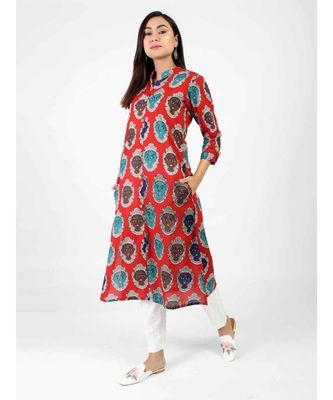 Red Cotton Kurti With Kalamkari Print
