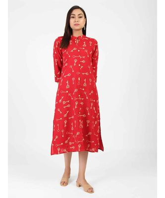 Red Cotton Straight Kurti With Front Slit