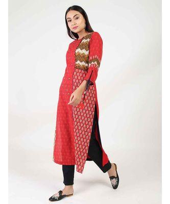 Red Cotton Straight Kurti With kantha Work