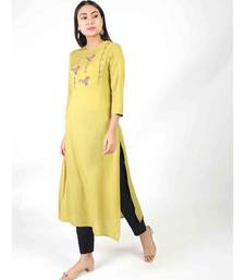 Lemon Long Kurti With Side Slit