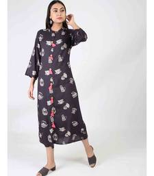 Black Long Printed Kurti