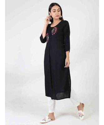 Black Long Cotton Kurti With Side Slit