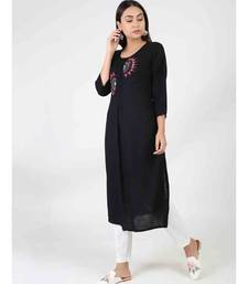 Black Long Cotton Kurti With Side Slit