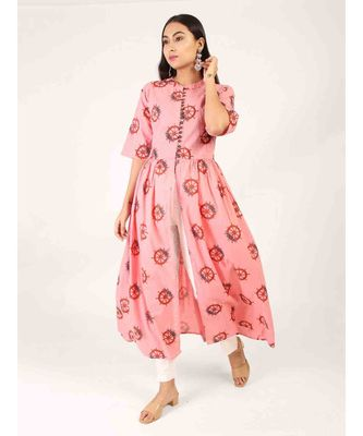 Pink Long Printed Gown