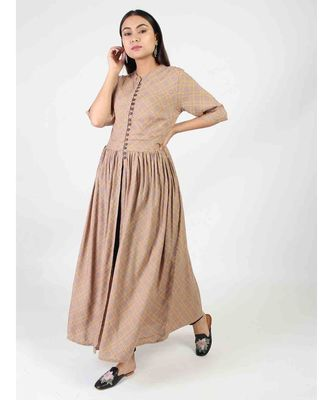 Brown Long Gown With Chinese Collar