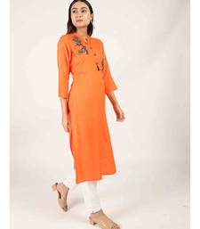 long Orange Rayon Kurti With Side Slit