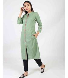 Green Straight Kurti With Chinese Collar