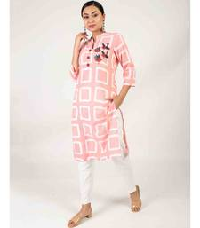 Light Pink Straight Kurta With Side Slit