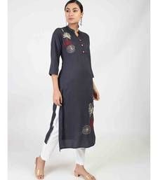 Black Straight kurta With Embroidery Work