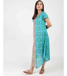 Turquoise Cotton Long Kurti With Quarter Sleeve