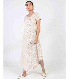 Off White Cotton Long Kurti With Quarter Sleeve