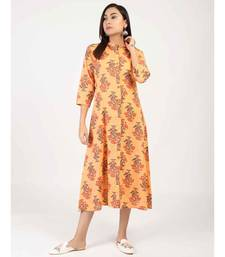 Cream Straight Cotton Kurti With Front Slit