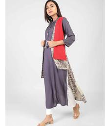 Blue Rayon Long Kurti With Shrug