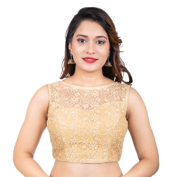 Dull Gold High Neck Dupion Silk Full Net Sleeveless Readymade blouse