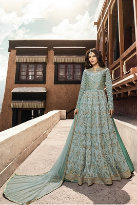 turquoise embroidered turquoise semi stitched salwar with dupatta