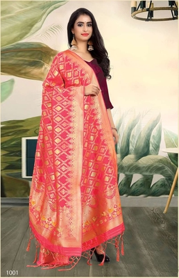 Pink Banarasi silk Weaving Work Traditional Tassel Dupatta