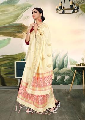 Cream Banarasi silk Weaving Work Traditional Tassel Dupatta