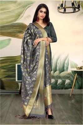 Grey Banarasi silk Weaving Work Traditional Tassel Dupatta
