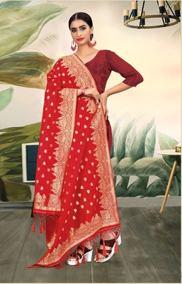 Red Banarasi silk Weaving Work Traditional Tassel Dupatta