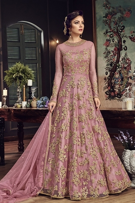Pink Embroidered Georgette Semi Stitched Salwar With Dupatta