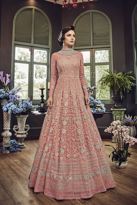Pink embroidered net semi stitched salwar with dupatta