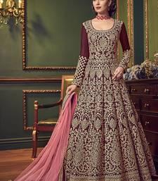Maroon Embroidered Pure Art Silk Semi Stitched Salwar With Dupatta