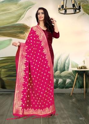 Rani Pink Banarasi silk Weaving Work Traditional Tassel Dupatta