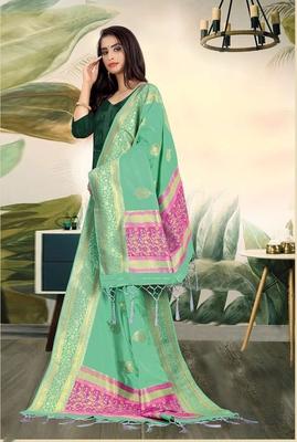 Green Banarasi silk Weaving Work Traditional Tassel Dupatta