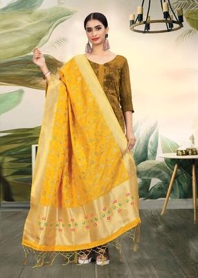 Yellow Banarasi silk Weaving Work Traditional Tassel Dupatta