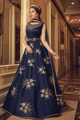 Blue embroidered pure art silk semi stitched salwar with dupatta