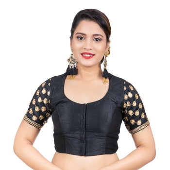 Jacquard Silk Embroidery Black Gold Net Short Sleeves Readymade blouse