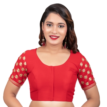 Jacquard Silk Embroidery Red Net Short Sleeves Readymade blouse