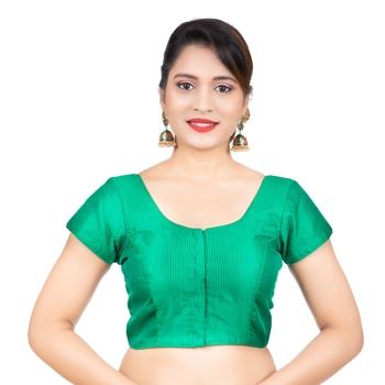 Green Banglori Silk Short Sleeves Readymade blouse