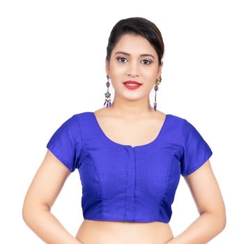Royal Blue Banglori Silk Short Sleeves Readymade blouse