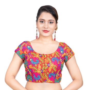Cotton Kutchi Hand Embroidered Mirror Work Red Short Sleeves Readymade blouse