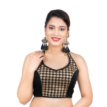 Black Banglori Silk Halter Neck Embroidery Sleeveless Backless Readymade Saree Bikini Blouse