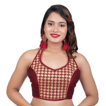 Maroon Banglori Silk Halter Neck Embroidery Sleeveless Backless Readymade Saree Bikini Blouse
