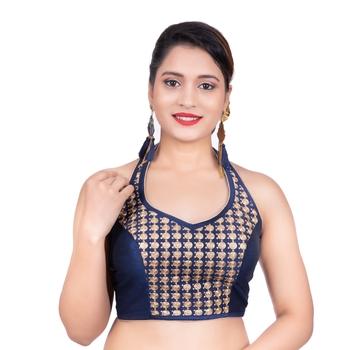 Navy Blue Banglori Silk Halter Neck Embroidery Sleeveless Backless Readymade Saree Bikini Blouse