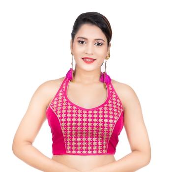 Banglori Silk Halter Neck Embroidery Pink Sleeveless Backless Readymade Saree Bikini Blouse