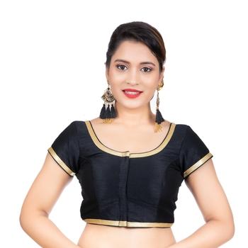 Dupion Silk Black Short Sleeves Golden Lace Border Readymade blouse