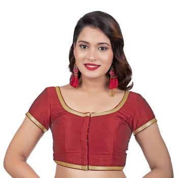 Dupion Silk Maroon Short Sleeves Golden Lace Border Readymade blouse