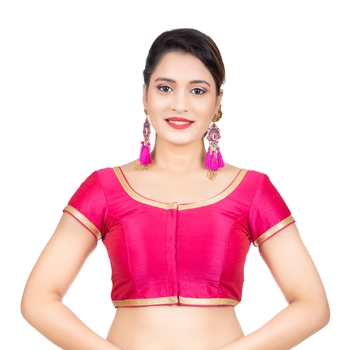 Dupion Silk Pink Short Sleeves Golden Lace Border Readymade blouse