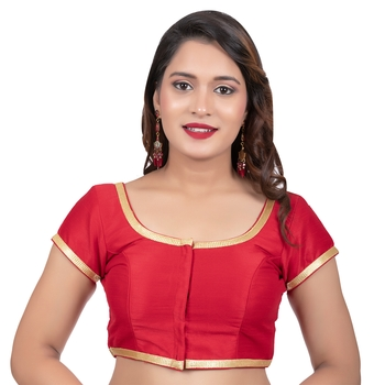 Dupion Silk Red Short Sleeves Golden Lace Border Readymade blouse